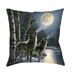 Beautiful art by James Meger creates an animal themed design in shades of blue for this printed pillow.