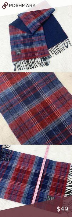 Men/'s 100/% CASHMERE Scarf Red Big Plaid Vintage Stripe Design Super Soft Wool