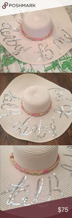 """Custom (like Eugenia Kim) Derby Hat Custom made """"talk derby to me"""" hat made in the similar style of Eugenia Kim. Hat is off white and wide brim. Decorated with real Lilly Pulitzer fabric and silver sequins. Lilly Pulitzer Accessories Hats"""