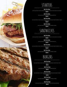 menu flyer templates, restaurant menu designs, menus for bars, menu templates for small businesses. Food Menu Template, Restaurant Menu Template, Restaurant Menu Design, Menu Templates, Flyer Template, Burger Menu, Menu Flyer, Food Menu Design, Small Businesses