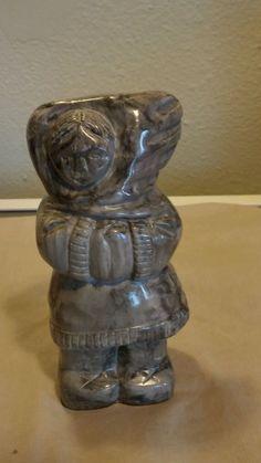 INUIT Eskimo Carving Art Sculpture Soapstone Canada signed Thorn