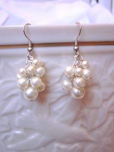 Cream / Ecru / Off-White Cluster Pearl Earrings, Wedding, Bridal