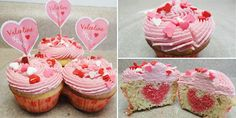 Pink cupcakes with love~