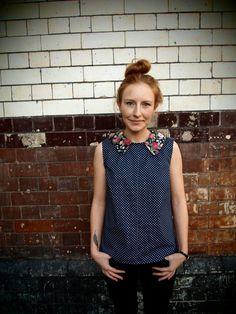 Spotty blouse on Etsy, $48.28 CAD