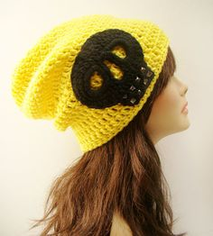 FREE SHIPPING - UNISEX Ultimate Rocker Skull Slouchy Crochet Beanie -  Bright Yellow with Black Skull and Gun metal studs via Etsy 3e338d9d23b
