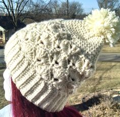 White Pom Pom Hat Crochet Unique Shell Design Warm Slouchy Beanie Hat - Cream Ivory Handmade Warm Thick Hat - pinned by pin4etsy.com