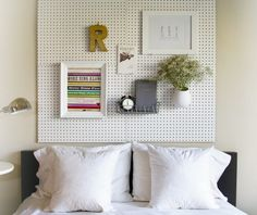Head board peg board  10 More Clever Things to Do with Pegboard