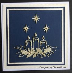 By Dianne Potter: Memory Box Glowing Candles die, Sue Wilson stars and Noble Squares die.Gold fibre paper was adhered to cream cardstock prior to die-cutting to add an interesting texture.....