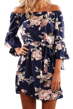 Allover floral print Off-the-shoulder neckline Self-tie waistband Bell Sleeves A-line silhouette High elasticity 95% Polyester, 5% Spandex SIZE (IN) Bust Length