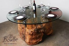 Mesa de tronco ocado: Casa Rústico por Boulle