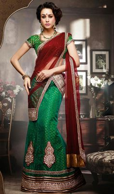 Green A Line Net Embroidered Lehenga Choli Price: Usa Dollar $93, British UK Pound £55, Euro68, Canada CA$101 , Indian Rs5022.