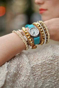 Wanderlust + Co // Stud + Buckle Double-Wrap Nude Bracelet // via @eatsleepwear