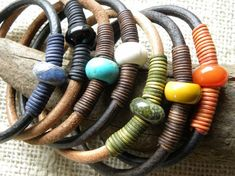 Leather and Gemstone Bangle Stacking Bracelets by TANGRA2009