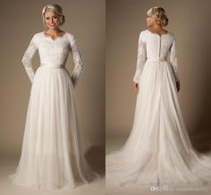 2016 Modest A-Line Lace Tulle Temple Wedding Dresses Long Sleeves V-Neck Sheer…