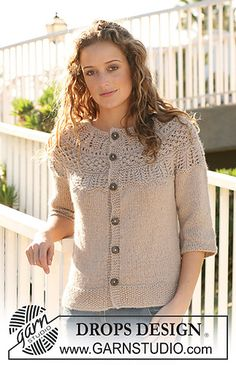 113-17 Jacket with Pattern on Yoke by DROPS design. FREE download from revelry.  I can see this in red...