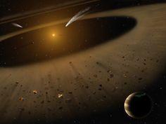 Ilustración de artista del sistema de epsilon Eridanus mostrando epsilon Eridani b en primer plano a la derecha, un planeta con la masa de Júpiter en órbita alrededor de su estrella progenitora al borde de un cinturón de asteroides. Al fondo puede verse otro cinturón estrecho de asteroides o cometas además de un cinturón más exterior similar en tamaño al cinturón de Kuiper de nuestro sistema solar.