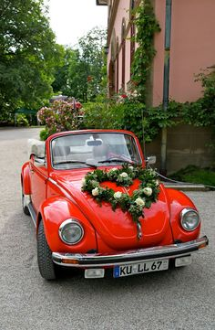 My sister's wedding car! This little beetle drove them all the way from church to dinner...