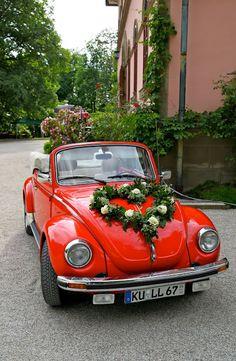 85 Pretty Wedding Car Decorations Diy Ideas Red & White Heart Wedding Cars Ideas In 2019 Sister Wedding, Red Wedding, Wedding Blog, Wedding Planner, Wedding Cars, Wedding Ideas, Red Beetle, Beetle Car, Bridal Car