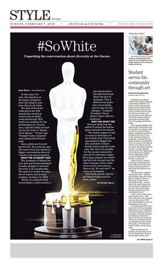 """""""#SoWhite"""" Lafayette Journal & Courier Style illustration by Clay Sisk designed by Andrea Brunty. (02.07.16) #newsdesign #Oscars"""