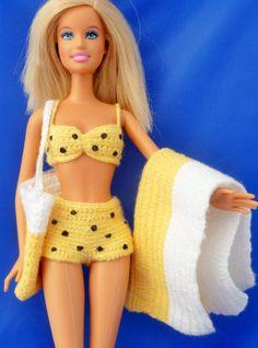 crochet yellow polka dot bikini