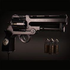 Hellboy's gun, Mathieu Griot on ArtStation at https://www.artstation.com/artwork/dQz0A