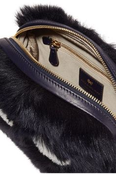 Anya Hindmarch - Eyes Mini Leather-trimmed Shearling Shoulder Bag - Navy - one size
