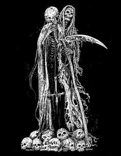 (NOT MINE) Not really satanic art but I think you'll enjoy. Satanic Cross, Satanic Art, Grim Reaper Art, Grim Reaper Tattoo, Dark Artwork, Dark Art Drawings, Arte Horror, Horror Art, Black Art