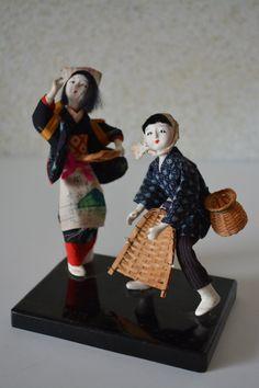 Vintage Japanese folk craft doll pair, mingei folk craft dolls by StyledinJapan on Etsy