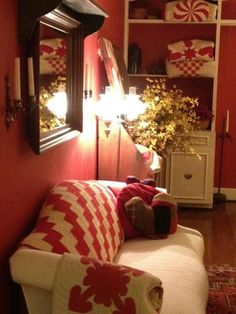 Surrounded in red & quilts