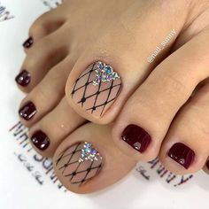 Burgundy Toe Nails with Lace Nail Art
