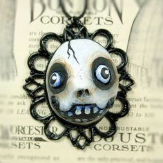 Original Cameo Skelly Sculpture Goth Pendant Necklace. $35.00, via Etsy.