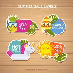 Summer labels collection with beach elements Free Vector
