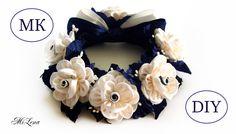 РЕЗИНКА НА ПУЧОК, МК / DIY Kanzashi Flower Bun Garland Headband / DIY Ha...