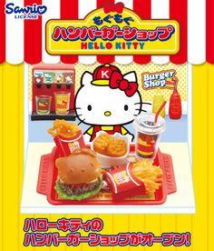 "Re-ment HELLO KITTY ""MoguMogu Humburger Shop"""
