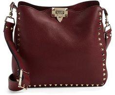 Valentino 'Small Rockstud' Leather Hobo Bag