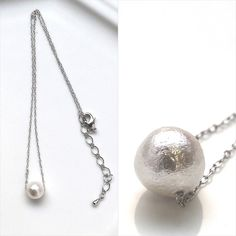 10 mm white cotton pearl silver tone necklace ✨ This single pearl necklace is pretty and match any outfits! ◆About Cotton pearl -Cotton pearls are