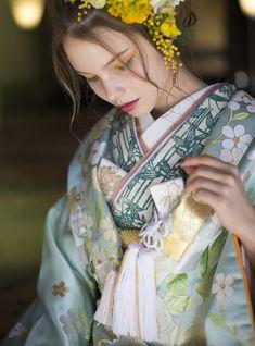 AYUMI BRIDAL kimono kyoto japan 色打掛 着物 水色慶結 botanical ボタニカル photographer : inamura masato あゆみブライダル京都 洛東迎賓館