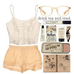 Tea and books. by carocuixiao on Polyvore featuring A.L.C., Oliver Peoples, Marc Jacobs, Jurlique, Aesop and philosophy