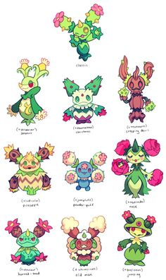maractus variations by extyrannomon on DeviantArt - Pokemon Pokemon Fusion Art, Pokemon Mix, Pokemon Fan Art, Original Pokemon, Pokemon Breeds, Pokemon Pictures, Catch Em All, Anime, Creature Design