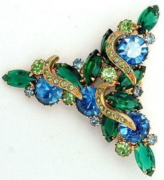 Large Vintage BLUE and GREEN Rhinestone Brooch With Pave Crescent Accents