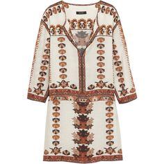 Isabel Marant Sandrine printed modal mini dress (£465) ❤ liked on Polyvore featuring dresses, white, keyhole dress, multi color dress, print dress, white loose dress and loose mini dress