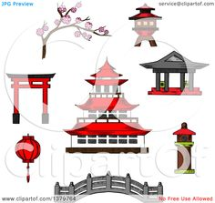 Clipart Of Sketched Japanese Icons Royalty Free Vector