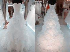 White/Ivory Ruffled Wedding Dress Bridal Gown Custom Size 4 6 8 10 12 14 16 18+