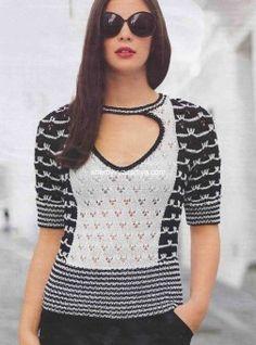 Черно-белый пуловер с короткими рукавами Схемы вязания