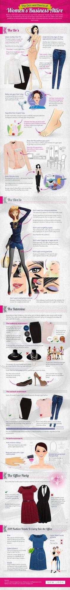 Women's Business Attire - Fashion Infographic - dress - women