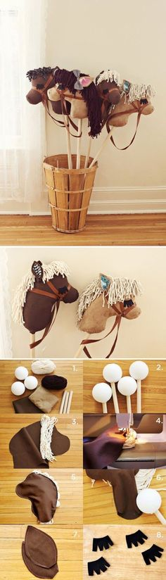 stick horse via A Beautiful Mess..could make  these my little pony inspired for party!