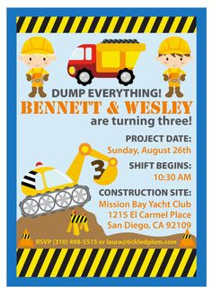"Dump Everything Construction Party Invitation.   Love the ""Dump everything!"" wording."