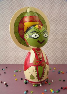 Kathakali Dancer - Handpainted Wooden Indian Classical Dance Golu Kokeshi Doll