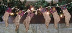 Christmas Stocking Garland  6 Primitive by HomespunCreationsJDC