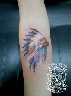 Watercolor Native American Headdress done by Josh at Texas Tattoos, Greenville Tx